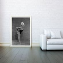 Jayne Mansfield, Hollywood sex symbol, Vintage, Home Decor, Prints & Posters, Wall Art Print, Poster Any Size - Black and White Poster